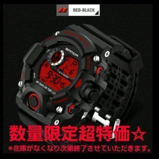大人気☆送料込☆SANDA黒×赤ダイバーズウォッチ スポーツウォ...