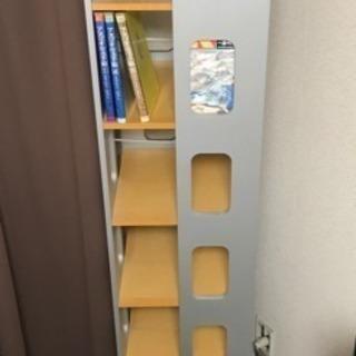 回転式本棚☆ブックラック 7段☆ナチュラルウッド×シルバー