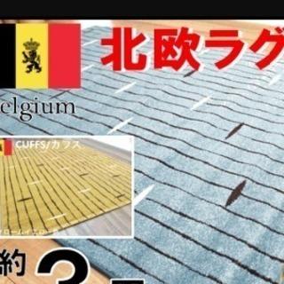 半額以上の安さ!北欧ラグ 塩系 モダン ベルギー製 ウィルトン織り...