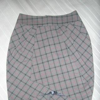 チェックひざ丈スカート L ☆新品同様☆