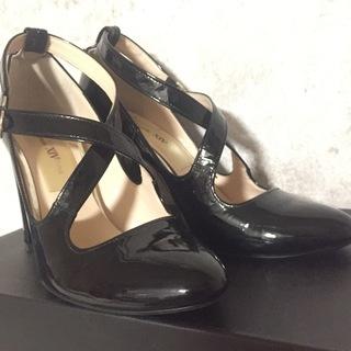 【Sサイズ22.5センチ】日本製黒エナメル9センチヒール