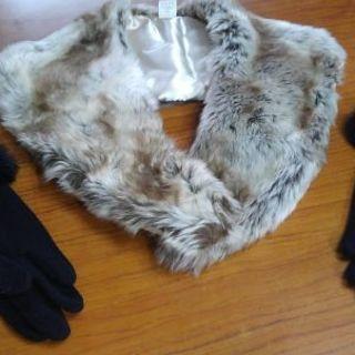 ボアの衿と手袋