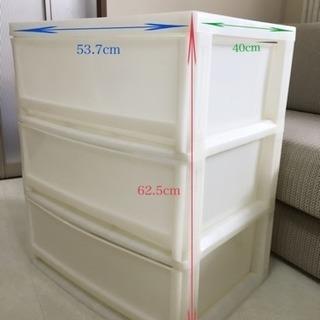 値下げ★ニトリ組立式 プラスチック三段収納ケース 白