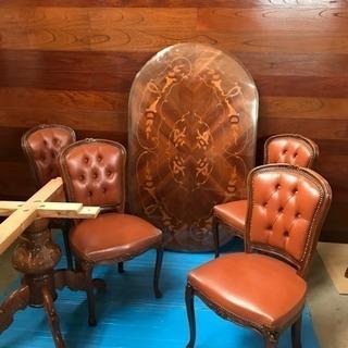 食卓テーブルセット、食卓セット、アンティーク、高級家具、木製