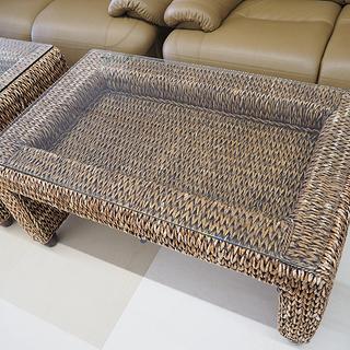 籐製センターテーブル ガラス天板 ディスプレイ付