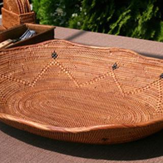 バリ島メイドの楕円形フルーツバスケット(模様入り)(在庫処分品)アタ製