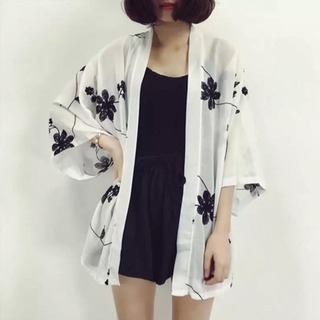 white autumn kimono
