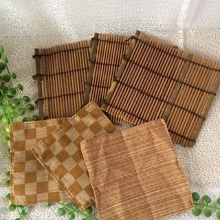 ◆新品未使用◆ 竹製&布製コースター6枚
