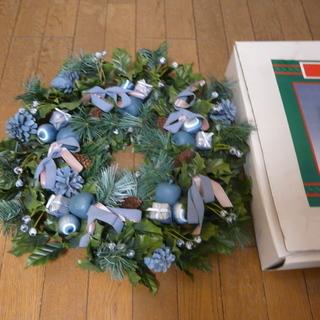 ■ 500円 アイス・ブルー・リース、クリスマス・リース、壁掛け...