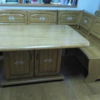 収納付きテーブル、ベンチタイプ椅子セット
