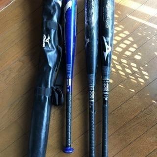 少年野球軟式用バット3本、バットケース