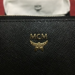 【未使用品】 MCM長財布 黒×内側紫 / 箱付き