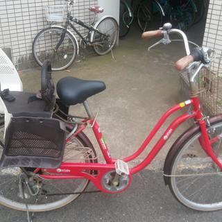 26インチ中古自転車 6段ギア チャイルドシート付