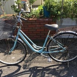 中古自転車 パステルグリーン 27インチ