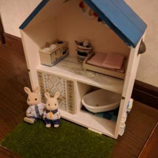 シルバニアサイズの家 ウサギくん2人と家具付き