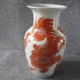 中国花瓶*赤絵獅子紋壷