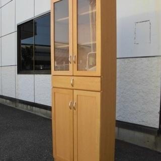 インテリア 高さ180cmの収納家具 ガラス扉 食器棚等に 木製色...