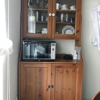 IKEA木製食器棚 ナチュラル 飾り棚 収納棚