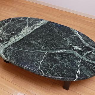【無料】人工大理石製楕円形ローテーブル 差し上げます。