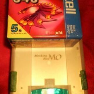 MOディスクドライブ(ジャンク品) と 新品MOディスク5枚(6...