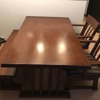ニトリダイニングテーブルセット4人掛(テーブル1・椅子2・ベンチ...