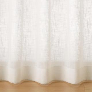 【美品】無印 ポリエステルスラブボイルプリーツカーテン レースのカーテン