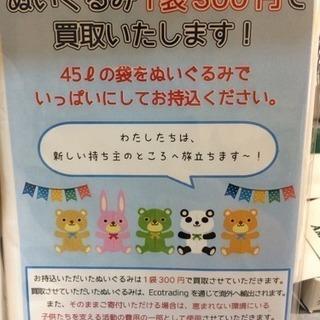ぬいぐるみ1袋(45L)300円で買取いたします!