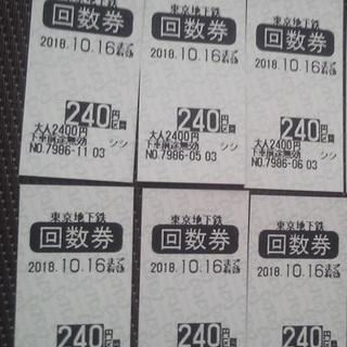 東京メトロ回数券(240円券) 6枚セット