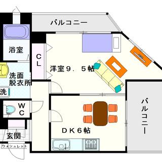 【フェニックスタワー】1DKタイプ!1LDKクラスの広さですがあえ...