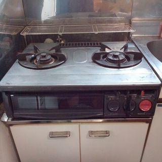 フッ素樹脂加工 2口グリル付き  ガスコンロ  ガステーブル ガス台