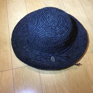 美品 ラフィア100% 帽子 黒