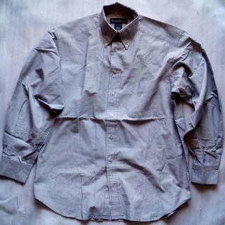 バナナリパブリック 長袖ボタンダウンシャツ S グレー コットン1...