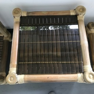 竹細工テーブル