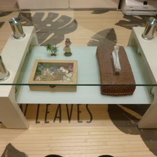 【終了】白ガラステーブル(ローテーブル)
