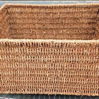 ☆籐籠 ラタンの魅力をギュッと凝縮した長方形カゴ 天然素材のアジ...