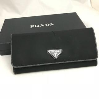 美品 プラダ ナイロン×レザー 長財布 ブラック 箱、ギャランティあり