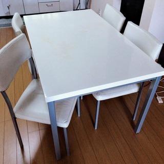 白のダイニングテーブル 椅子4脚セット 汚れ有り