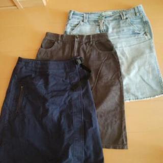 膝丈スカート 三枚セット ベネトン、オリーブ、FITS