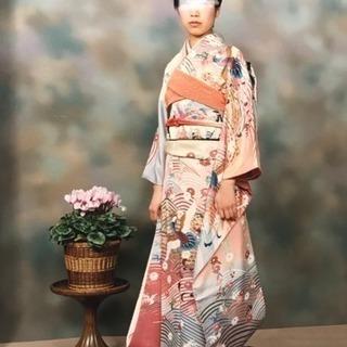 京友禅の振袖、銀糸の袋帯など10点セット