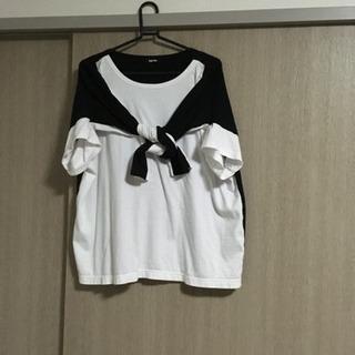 Ne-net 2wayジャージ カットソー 白×黒