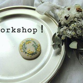 刺繍で作るくるみボタンのヘアゴムin那須烏山