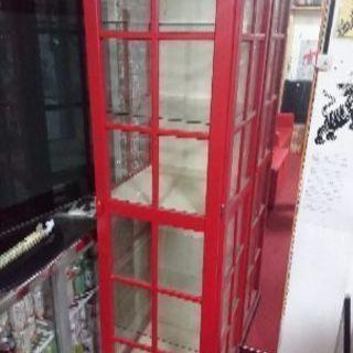 引き取り限定 外国の電話BOX風 コレクションケース ガラスケース