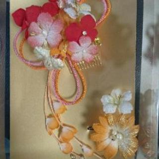 成人式用髪飾り(赤・オレンジ)