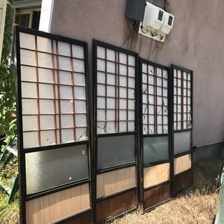 昭和レトロ アンティーク 古民家蔵出し 障子 襖 ガラス窓 パーテ...