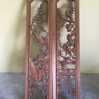 越中井波彫刻 欄間一対 豪華 栄二郎刀 アンティーク 昭和 レトロ