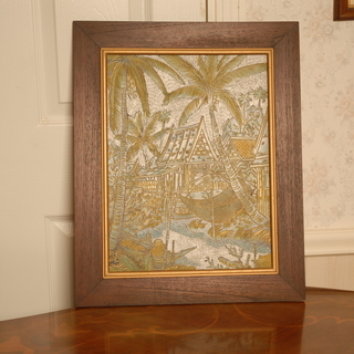 『決まりました』アジアン雑貨 木彫りの絵 53×42.5cm
