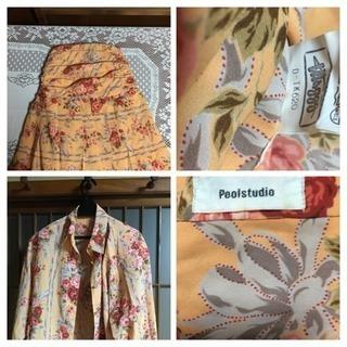 大幅に価格変更!薔薇リボン柄、包みボタン スーツ。