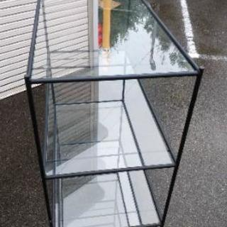 四段 ガラス天板 鉄製フレーム ラツク