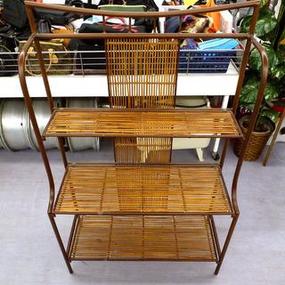 折りたたみ棚 籐×木製調フレーム 和風/アジアン家具調 札幌市手稲区