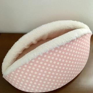 ペット用ベッド 猫 ドット柄 (ピンク)